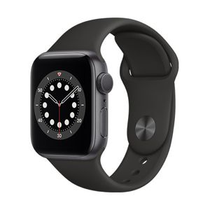 Apple Watch Series 6 GPS, 40mm Space Gray Aluminium Case with Black Sport Band - Regular MG133VR/A