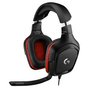 Herné slúchadlá Logitech G332 Leatheratte Stereo Gaming Headset, red 981-000757